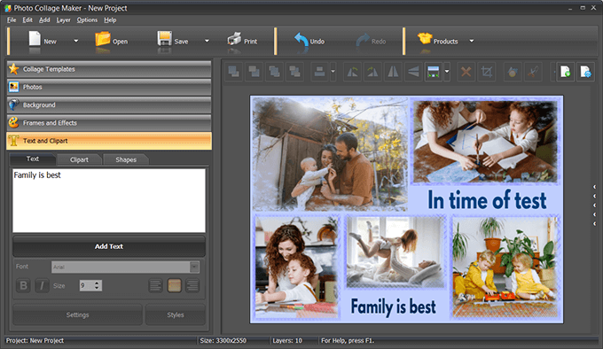Add captions and clipart to your collage
