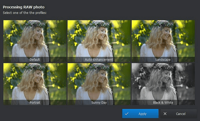 Apply auto editing presets