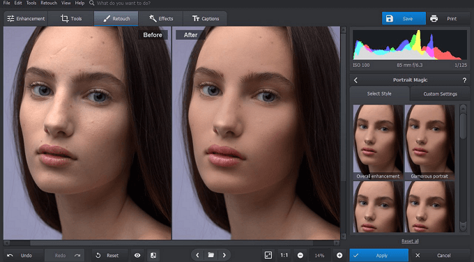Apply retouch tools