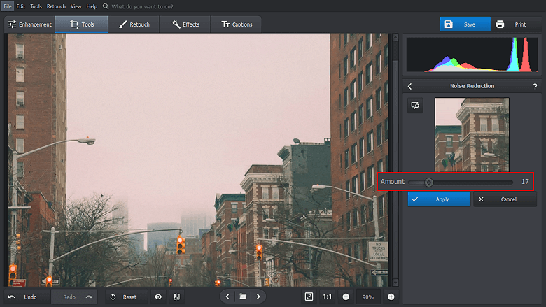 Remove the noise with a slider drag