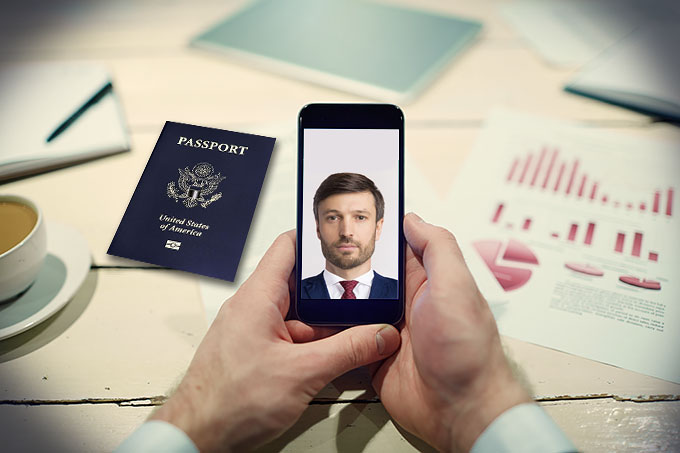 Take your passport photo with a phone