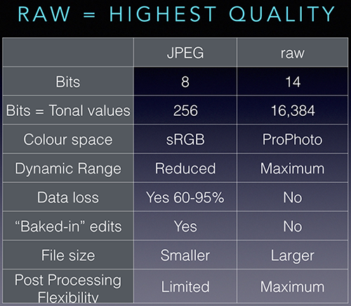 Comparing JPEG and RAW