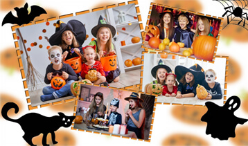 Halloween party collage