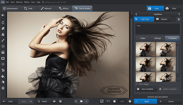 Open your picture with PhotoWorks and pick the Change Background tool